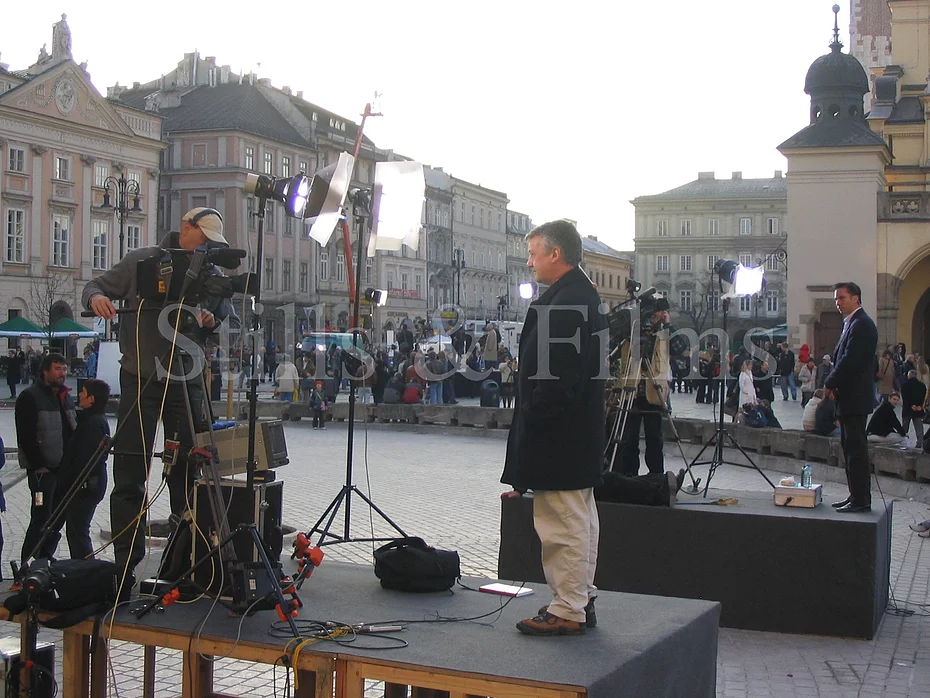 Filming in Poland.