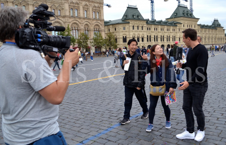Filming with Gary Neville in Moscow during the World Cup 2018