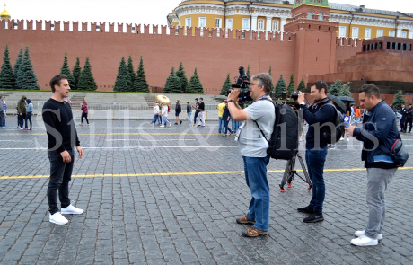 Filming with Gary Neville in Moscow during the World Cup