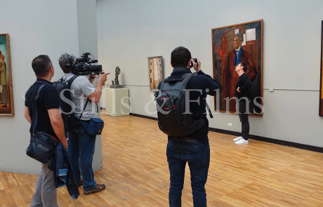 Filming with Gary Neville in the Tretyakov Gallery in Moscow, Russia 3