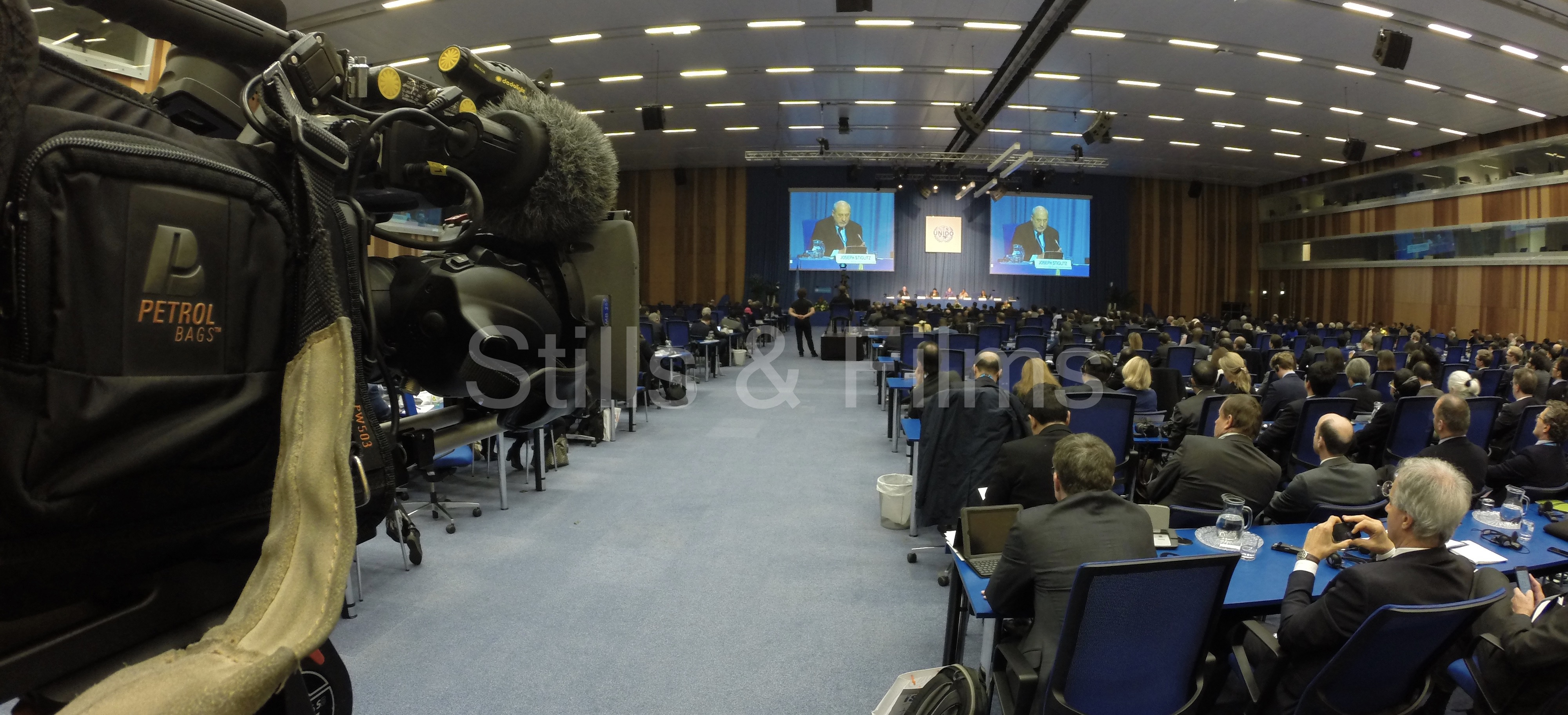 Camera crew Vienna filming keynote speech of Joseph Stiglitz at UNIDO conference