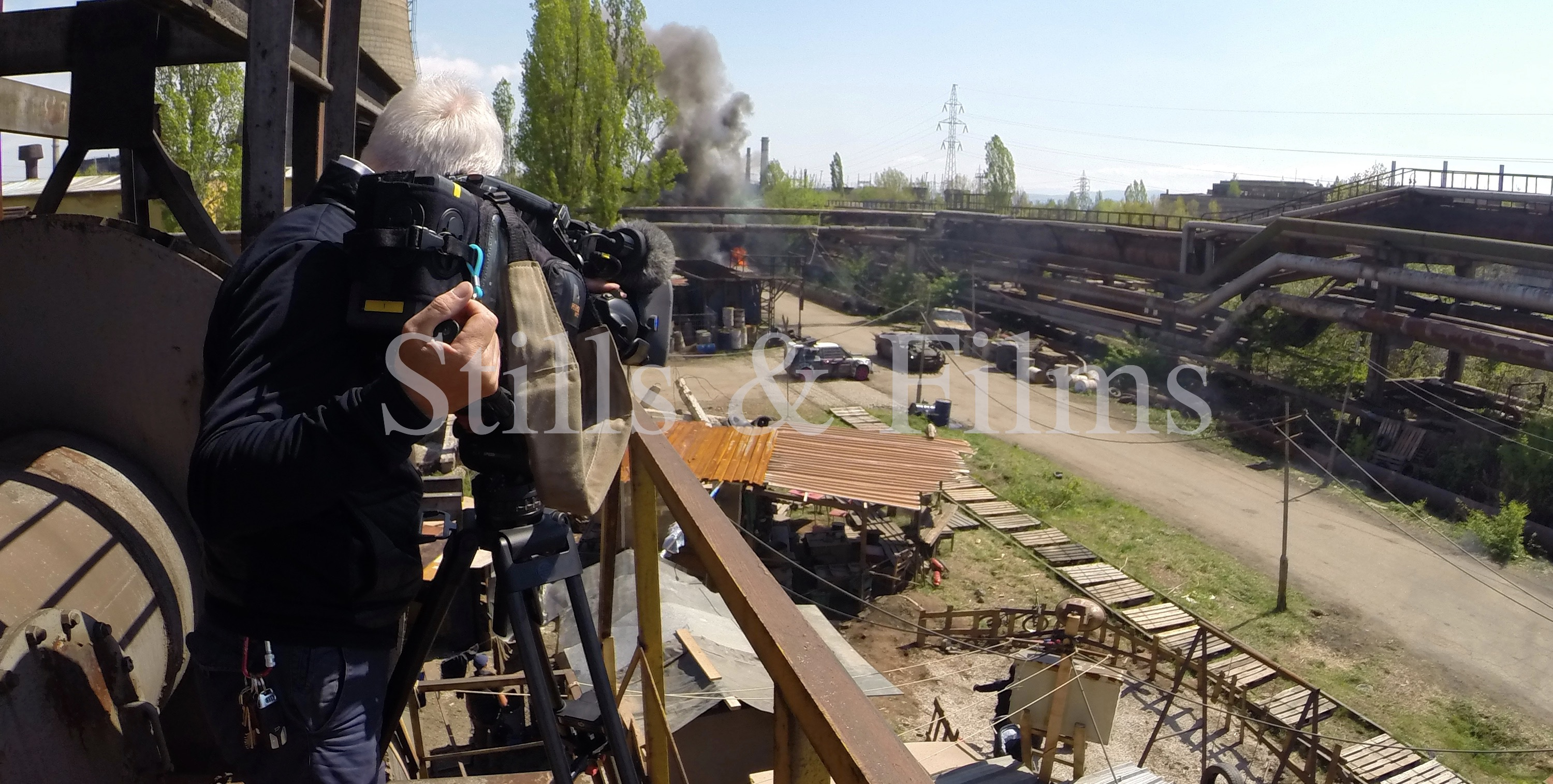 Filming behind the scenes at Death Race 4 somewhere near Sofia in an old, abandoned factory