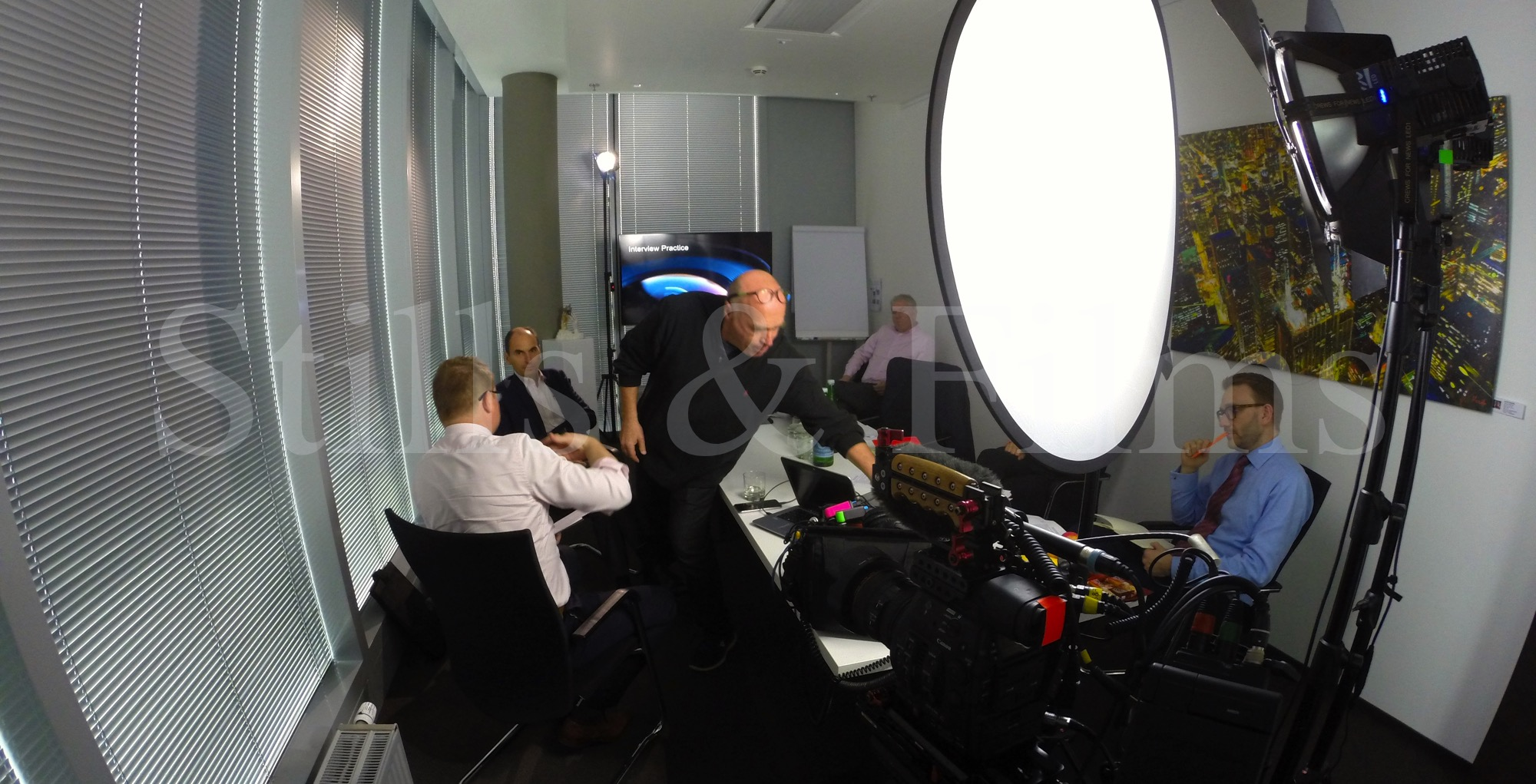Filming media training at Mondi in Vienna, Austria