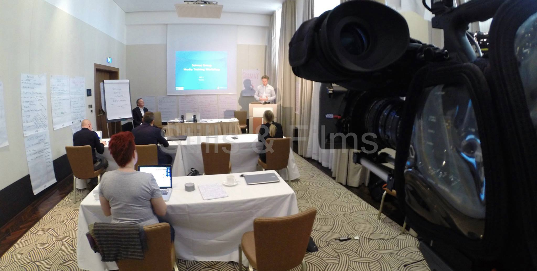 Media training in the Ritz Carlton hotel in Vienna, Austria for representatives of a Russian oil company