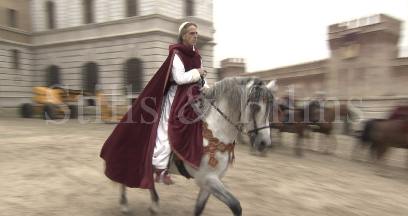 Video Production Budapest filming Jeremy Irons on horseback at The Borgias
