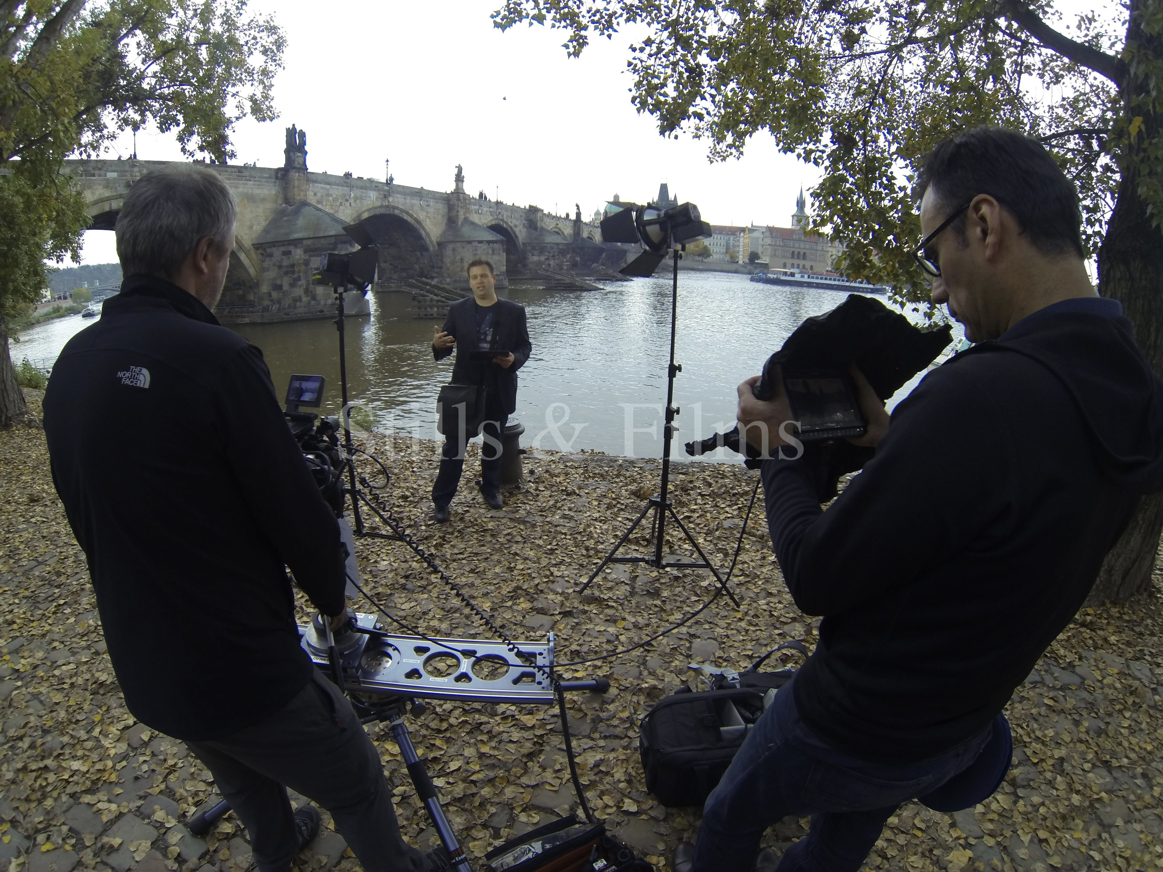 "Video Crew Prague filming at Charles Bridge for Microsoft's ""Garage"" series"