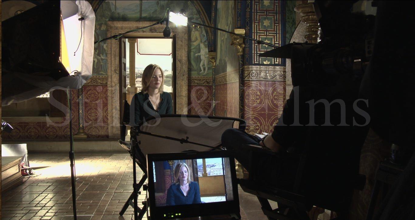 Video Crew Budapest interviewing Holliday Grainger on The Borgias set